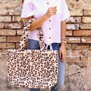 Lincoln Leopard Faux Fur Tote Leopard